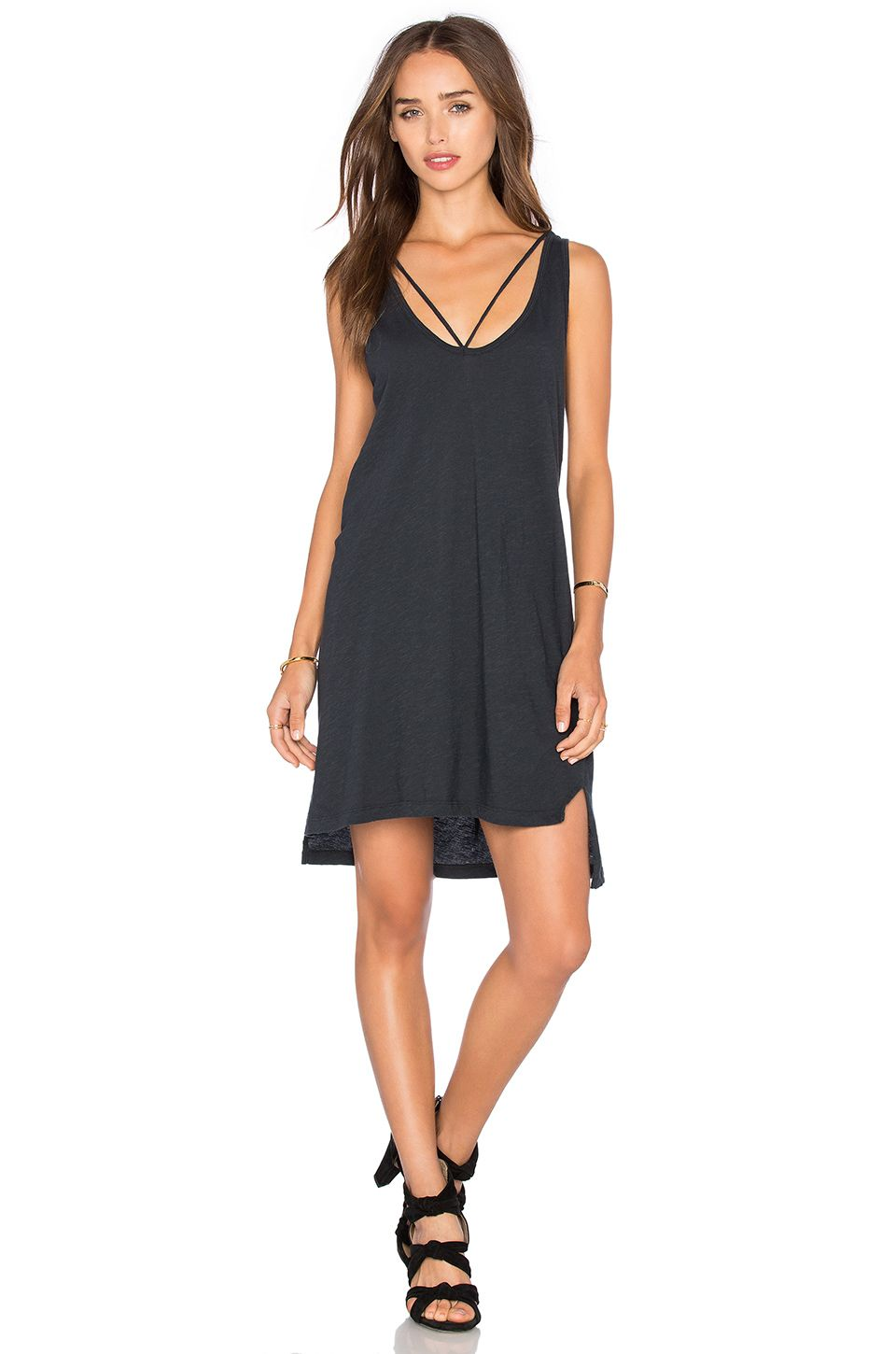 Black Tank Spring Dress Strappy Faded And Summer TZt11waxq