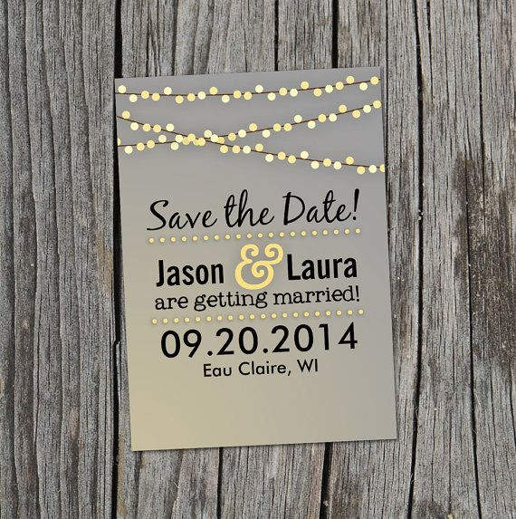 Save the Date, Save the Date Card, String Lights Save the Date ...