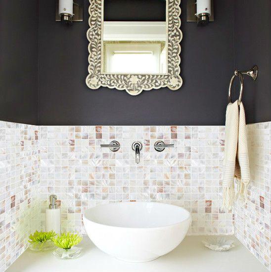 Mother of Pearl Tile Backsplash Kitchen design Seashell Mosaic