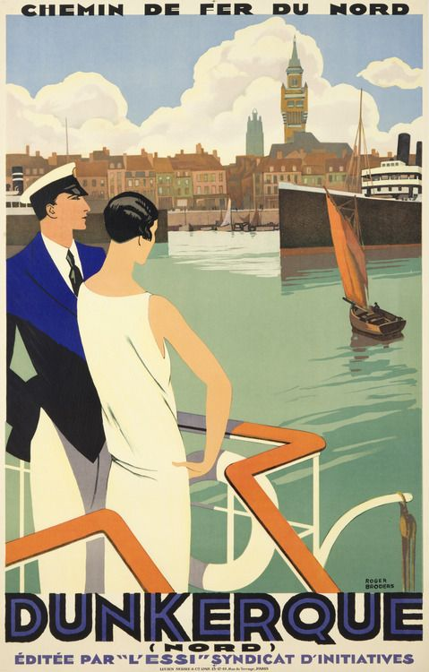 Vintage travel poster for Dunkerque (Dunkirk). c.1930. Artwork by Roger Broders