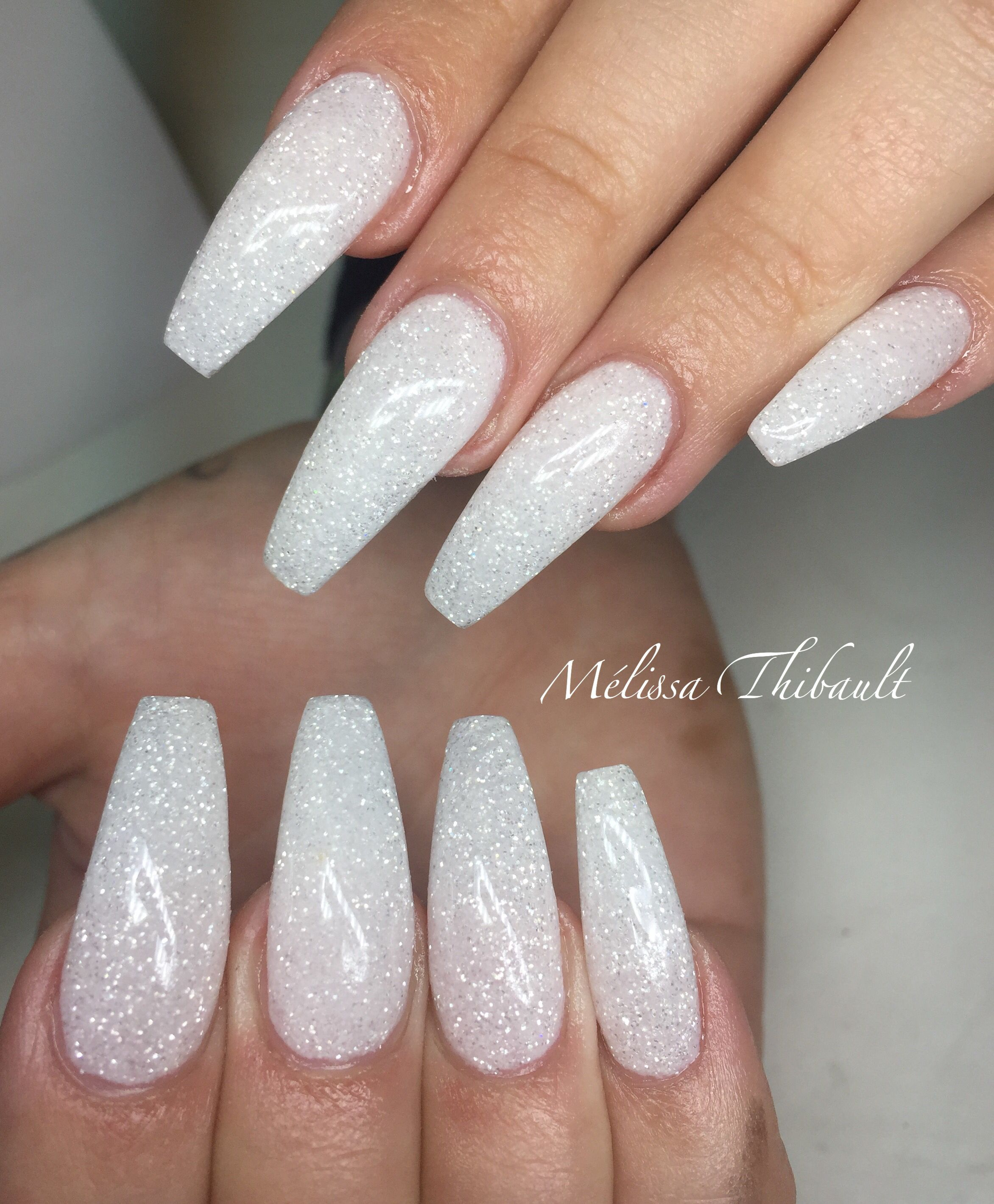 Pin By Carlie Rose Simons On Nails Sparkly Acrylic Nails White Acrylic Nails With Glitter Homecoming Nails