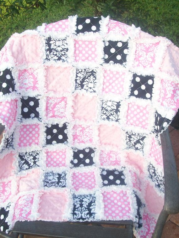 Black and Hot pink  Perfect duo  Baby girl rag quilt