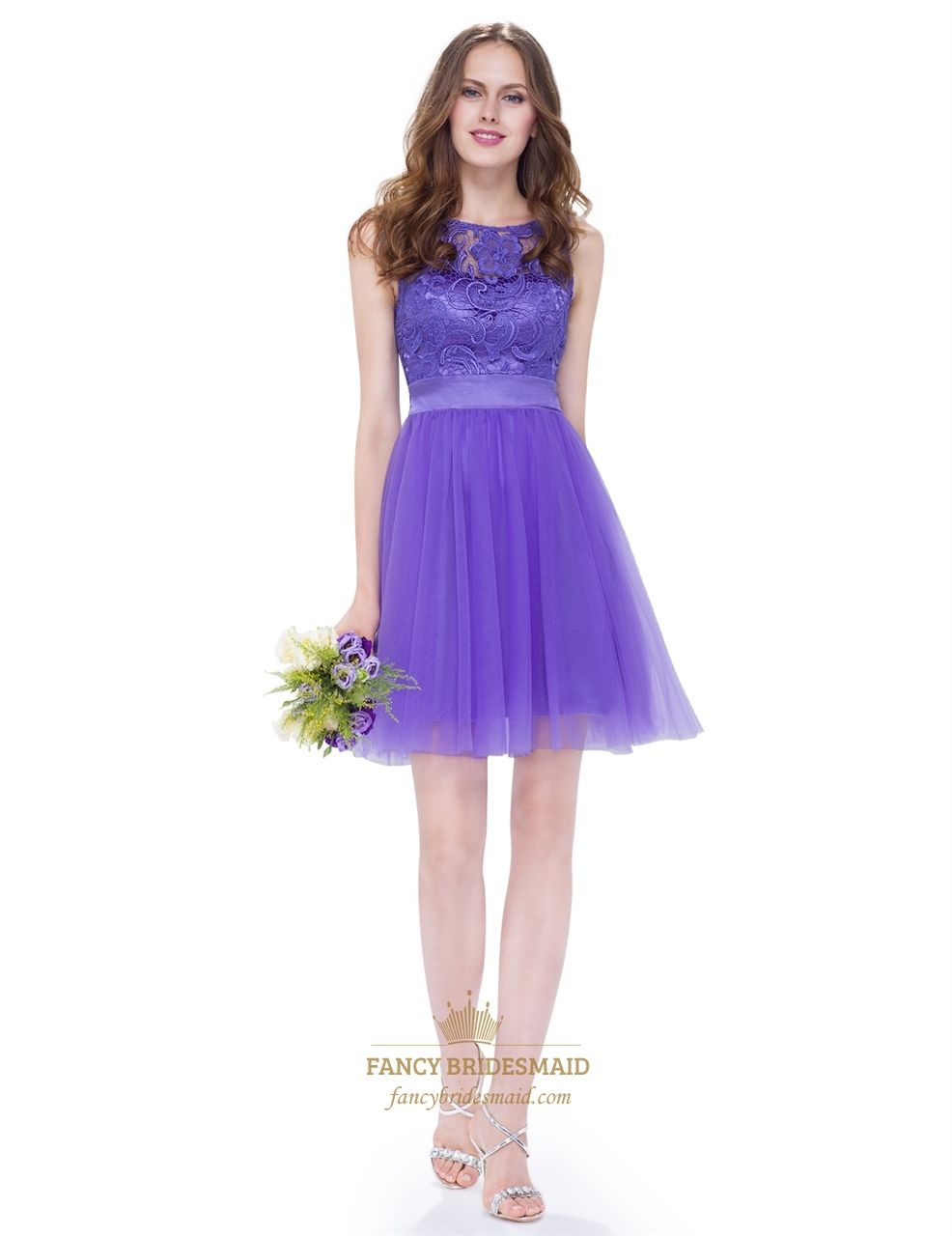 Sheer Lace Top Chiffon Skirt Embellished Waist Short Cocktail Dress ...