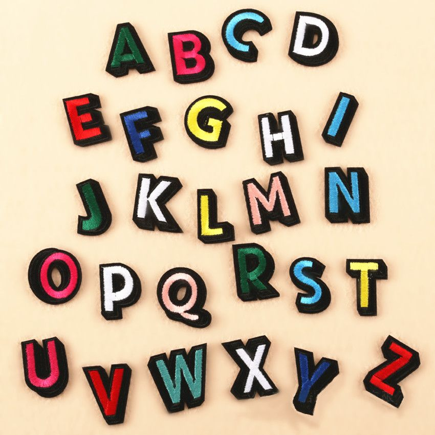 26 Pcs lot Alphabet Letter Embroidered Iron On Patches Applique DIY Sewing Craft