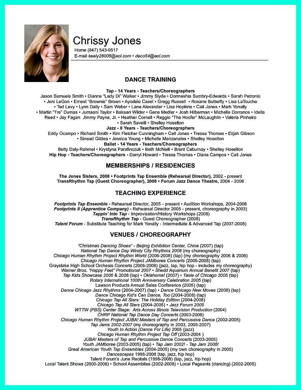 Dance Resume Template Dance Resume Can Be Used For Both Novice And Professional Dancer