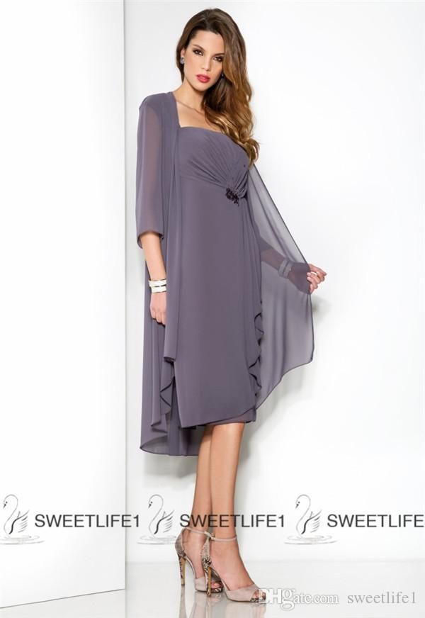 b2e99c3138d Mother Of The Bride Dresses Auckland 2015 Short Mother S Dresses Plus Size  Chiffon Knee Length Mother Of The Bride Dresses With Jacket Half Sleeves  Ruched ...