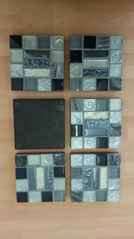 A 6 set of coasters. Made from mostly glass mosaic tiles and area stone ones. The coasters also have glitter within the grout to give them that extra special look. On sale in etsy for £20 with wendysworkshopGB.