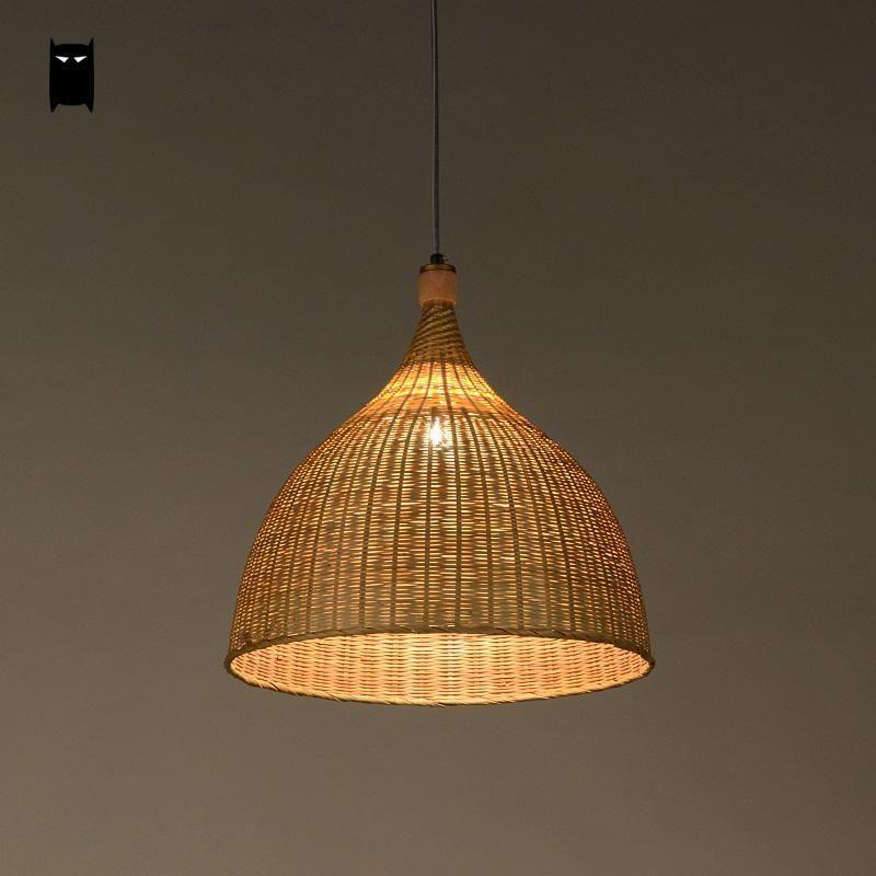 Bamboo Rattan Round Basket Shade Pendant Light Fixture Asian Hanging Lamp Room