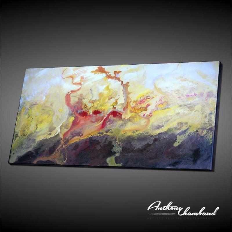 Tableau Grand Format Marron Et Jaune Peinture Abstraite Tableau