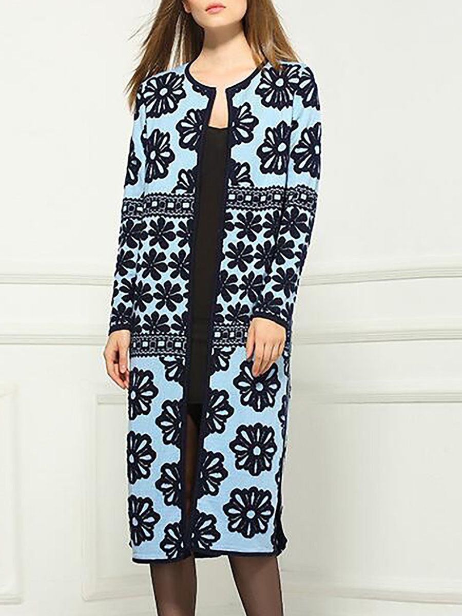 #AdoreWe #StyleWe Coats - NEXIIA Blue Slit Wool Blend Casual Coat - AdoreWe.net