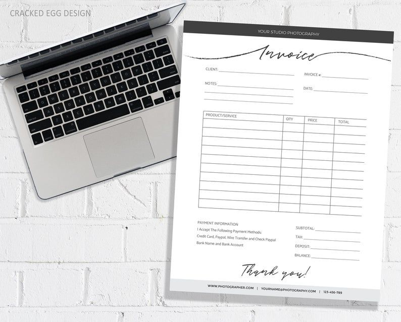 Super Clean And Modern Invoice Template For Photographer Or Etsy In 2021 Invoice Template Photography Invoice Templates