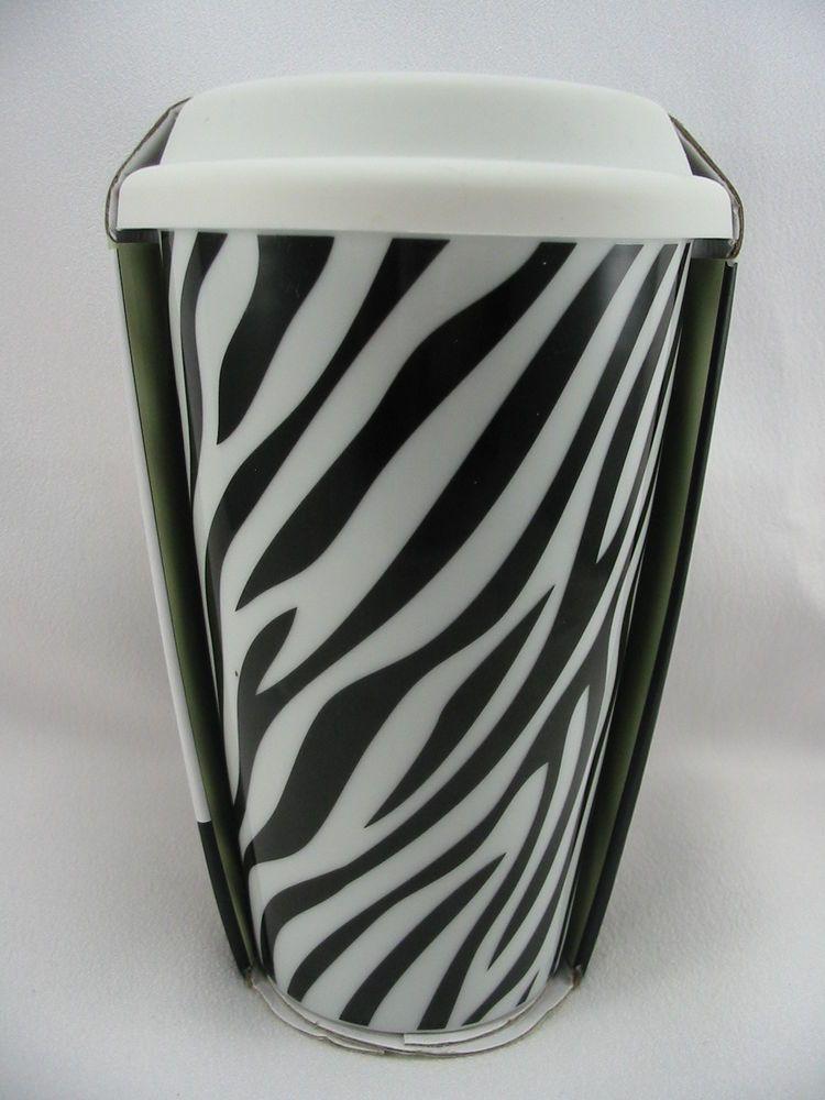 Ciroa Ceramic Travel Coffee Mug Cup Zebra Print White Silicone Lid 10 Ounce New Ceramic Travel Coffee Mugs Coffee Mugs Coffee Travel