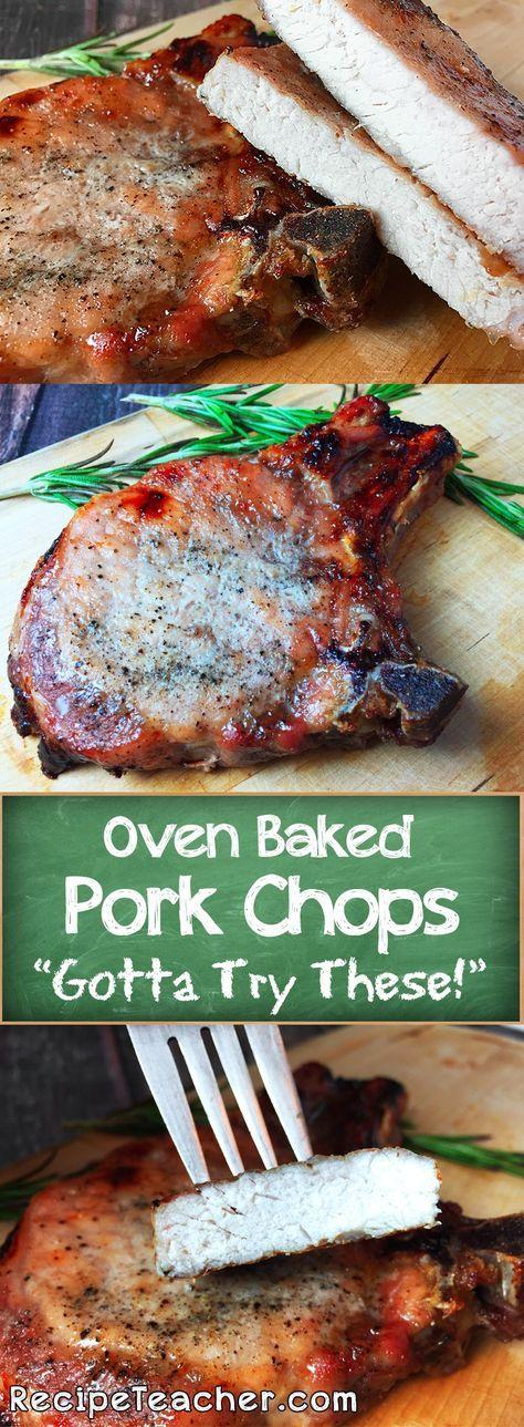 Oven Baked Bone-In Pork Chops - RecipeTeacher #ovenbakedporkchops
