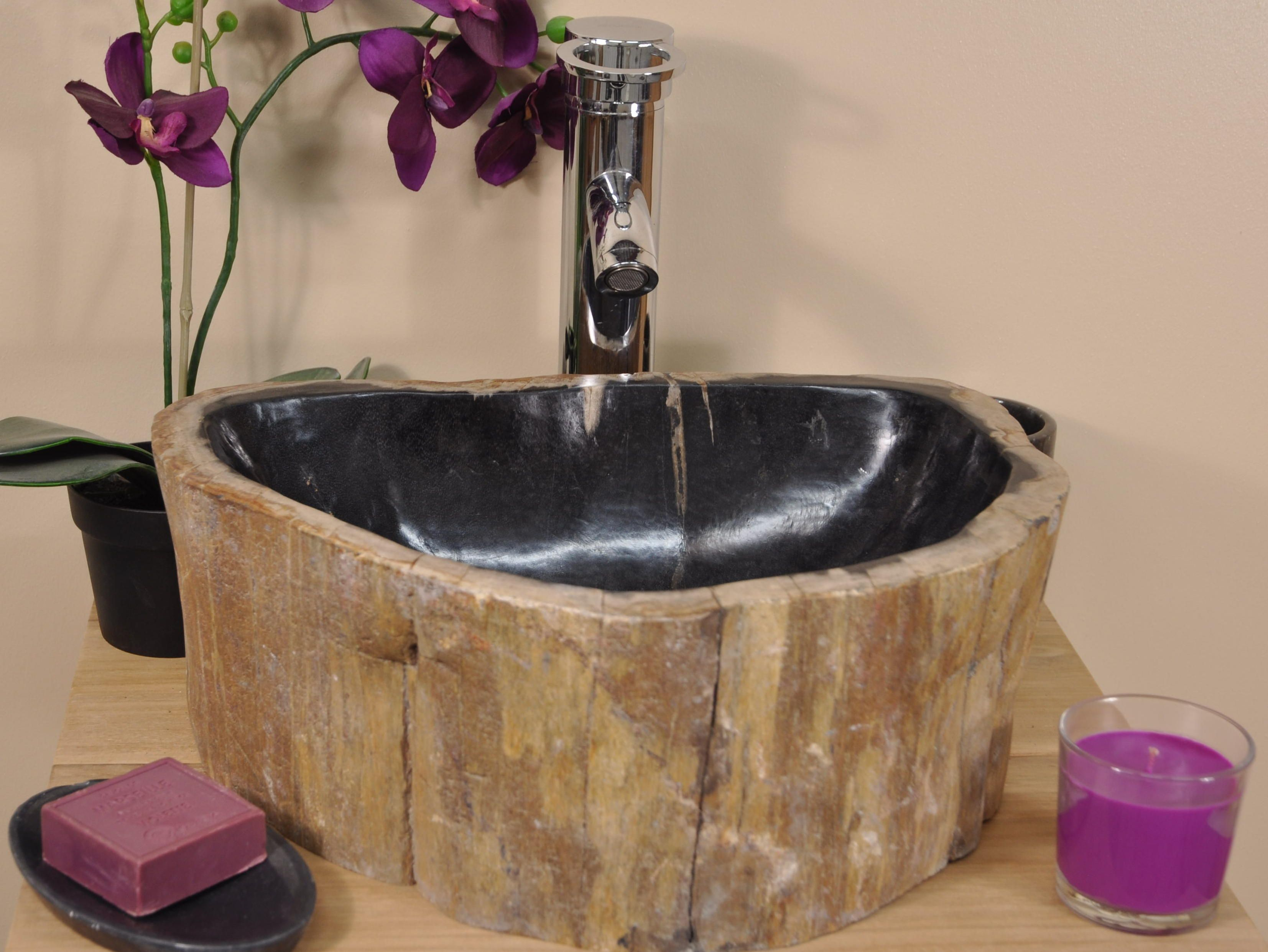 Vasque A Poser En Bois Petrifie Fossilise De Qualite Exceptionnelle Polie A L Interieur Et Brute A L Exterieur Vasque Vasque Bois Petrifie Salle De Bain Bois
