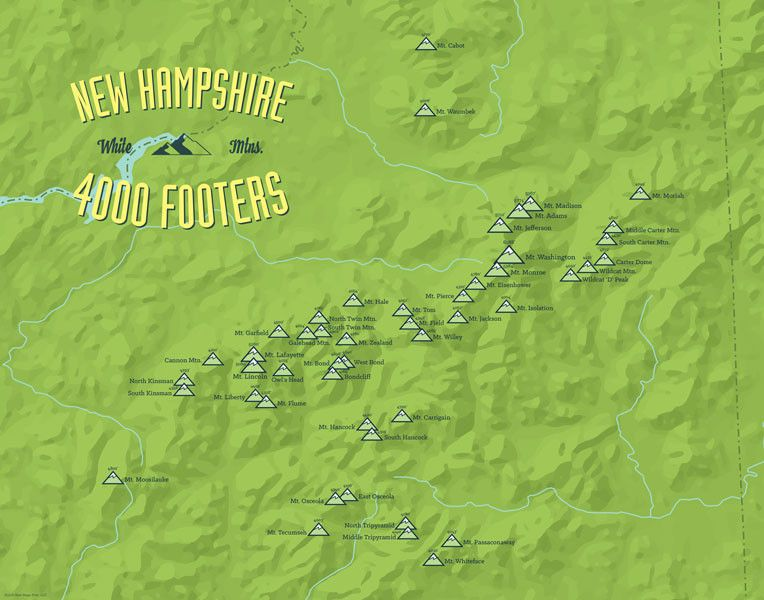 Map Of New England 4000 Footers.New Hampshire 4000 Footers Map 11x14 Print Gifts New Hampshire