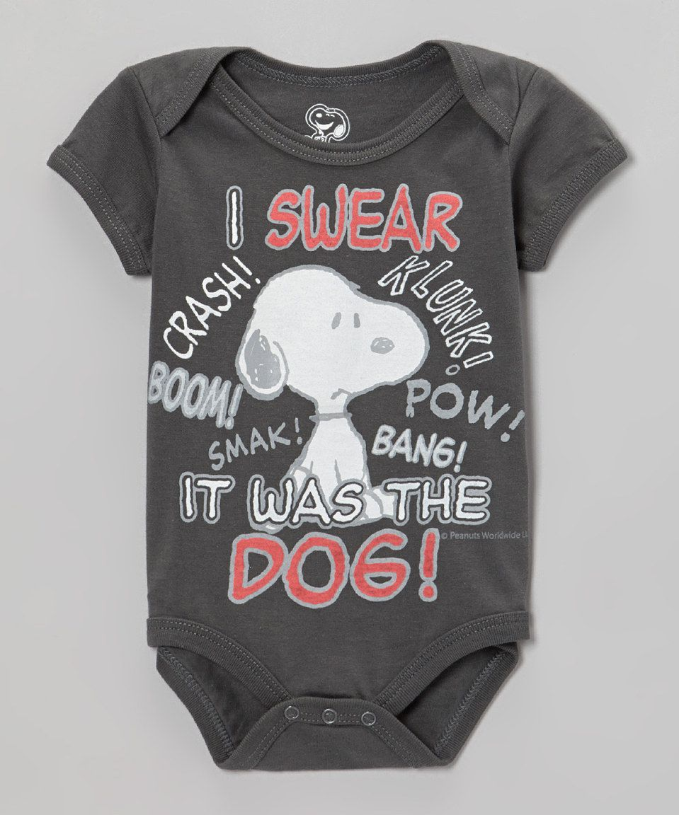 d1485b1af4 Charcoal  I Swear It Was the Dog  Snoopy Bodysuit - Infant by Peanuts by  Charles Schulz  zulily  zulilyfinds