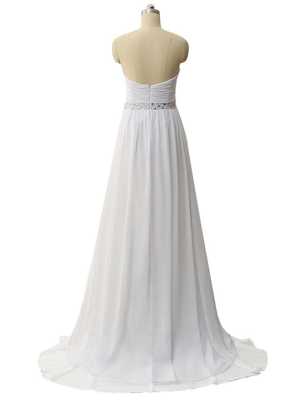 b4592185cd1 JAEDEN Strapless Beach Wedding Dresses For Birde Simple Chiffon Bridal Gown  Pleat Ivory US22W