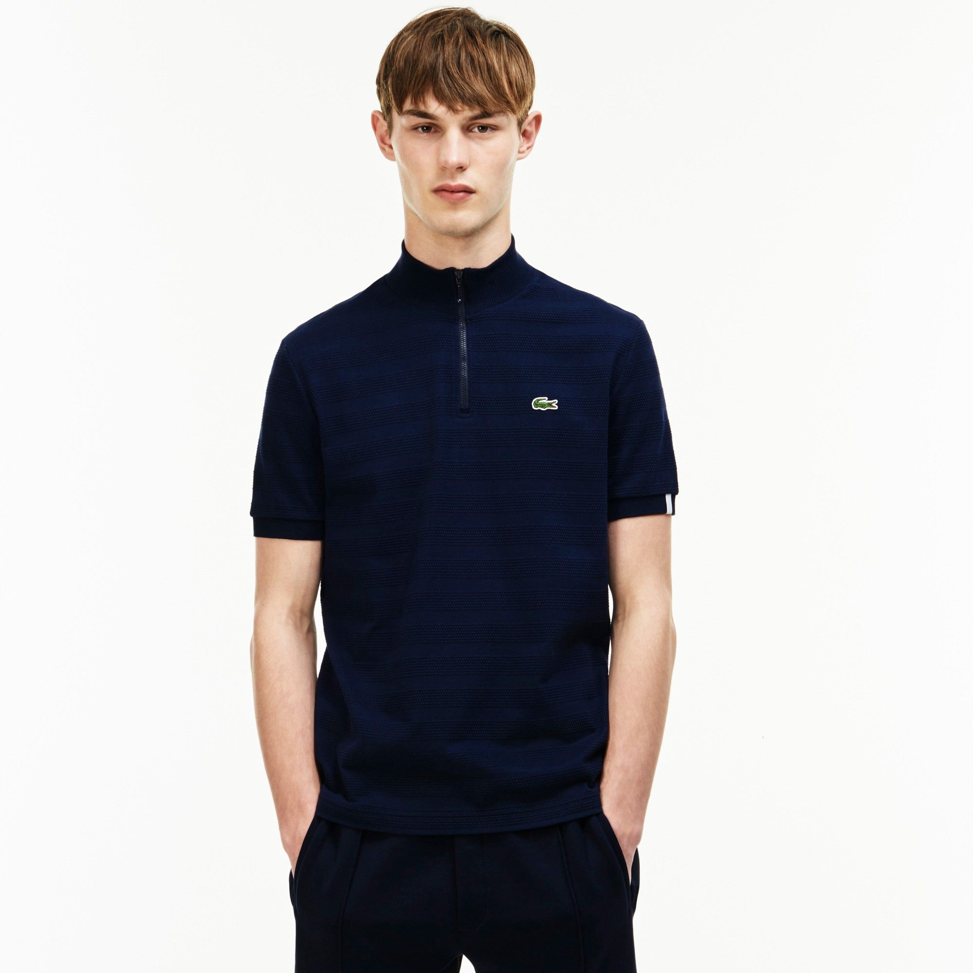 df8eec6dce2 LACOSTE Men s Lacoste LIVE Slim Fit Zip Striped Honeycomb Jersey Polo -  NAVY BLUENAVY BLUE.  lacoste  cloth
