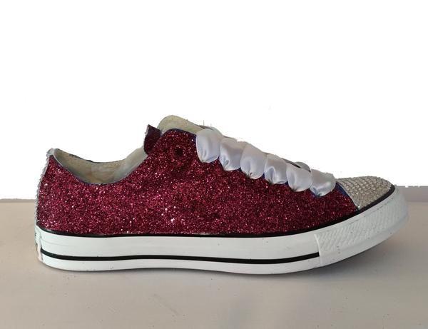 $15 OFF with code: PINNED15 Womens Glitter & Crystals Converse All Stars  Burgundy Maroon Dark Red wedding bride bridal prom gift | Pinterest | Dark  red ...