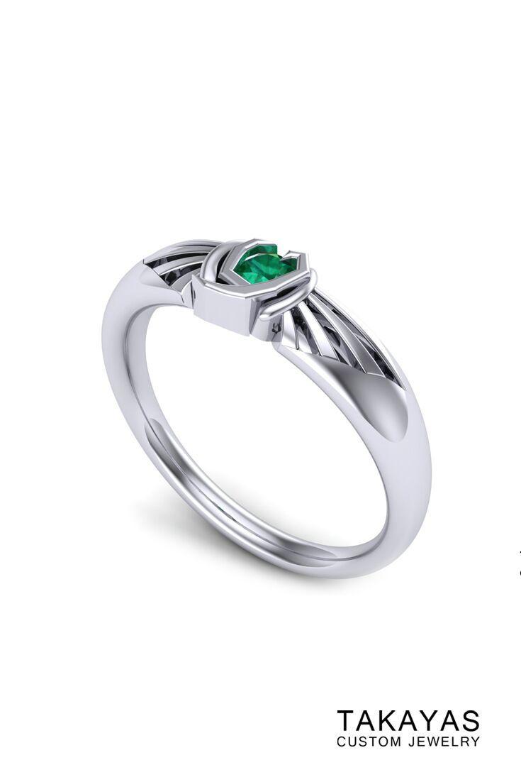 Kokiri Emerald Zelda Inspired Ring By Takayas Custom Jewelry: Spiritual Stones Zelda Wedding Rings At Websimilar.org