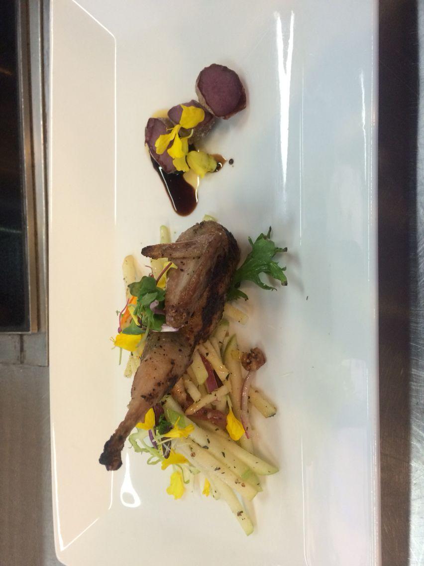 Sage grilled quail, Apple slaw, salt roasted fingerling potatoes
