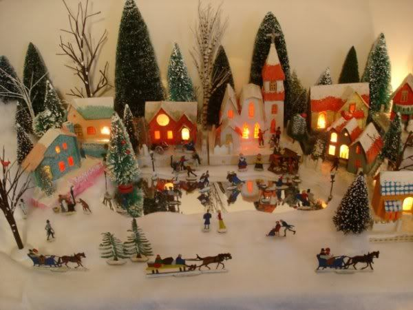 Printable Miniature N Scale Village And Castles By Putz Tower Christmas Village Display Putz Houses Display Dollhouse Christmas