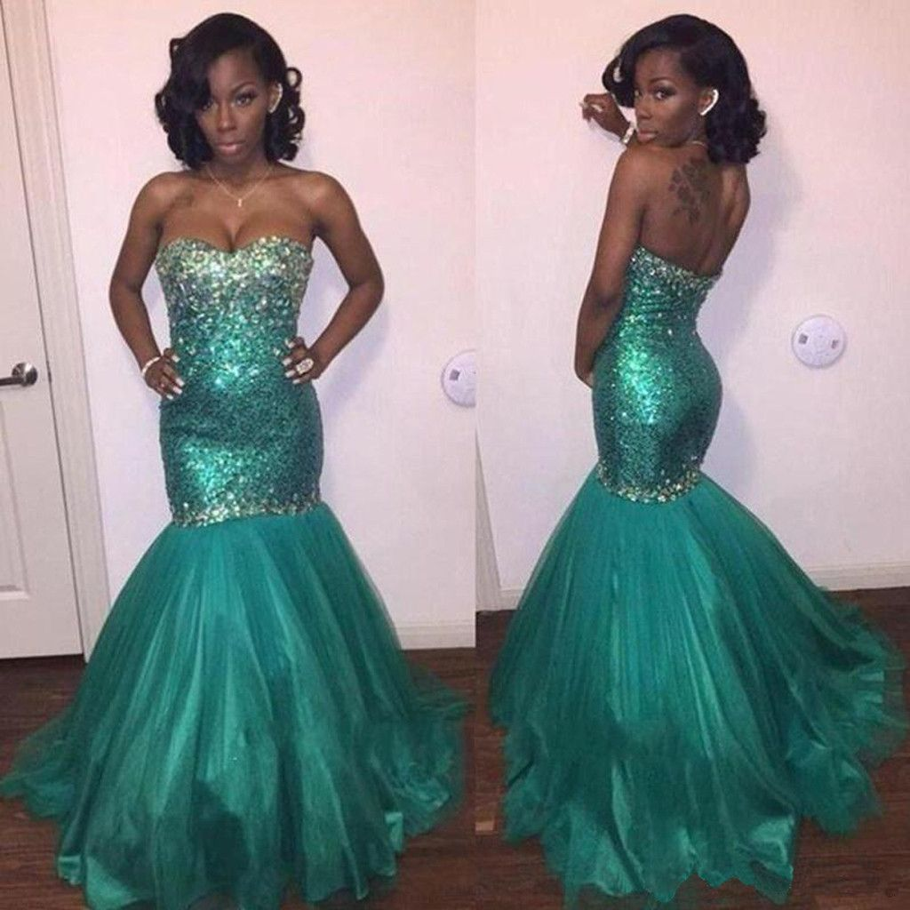 Sweetheart green sequin rhinestone long mermaid tulle prom dresses