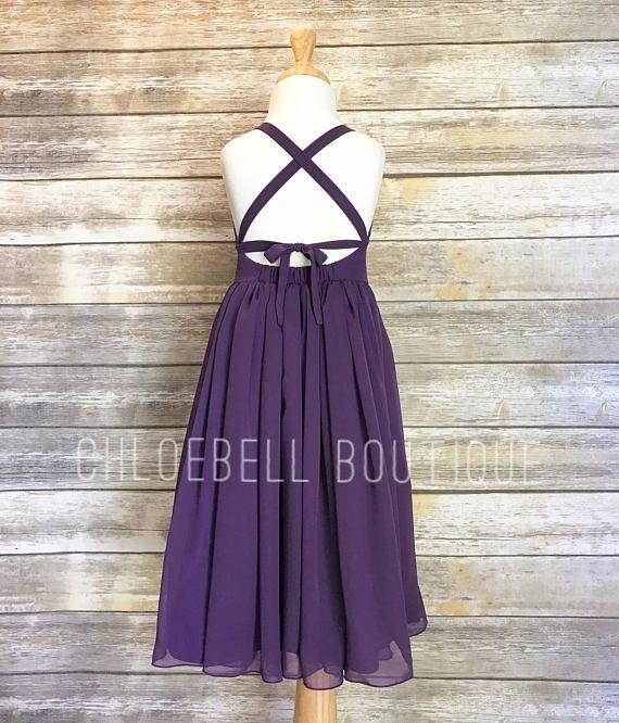 4490eb5caac Midi Purple flower girl dress - Plum flower girl dress - Plum - Midi ...