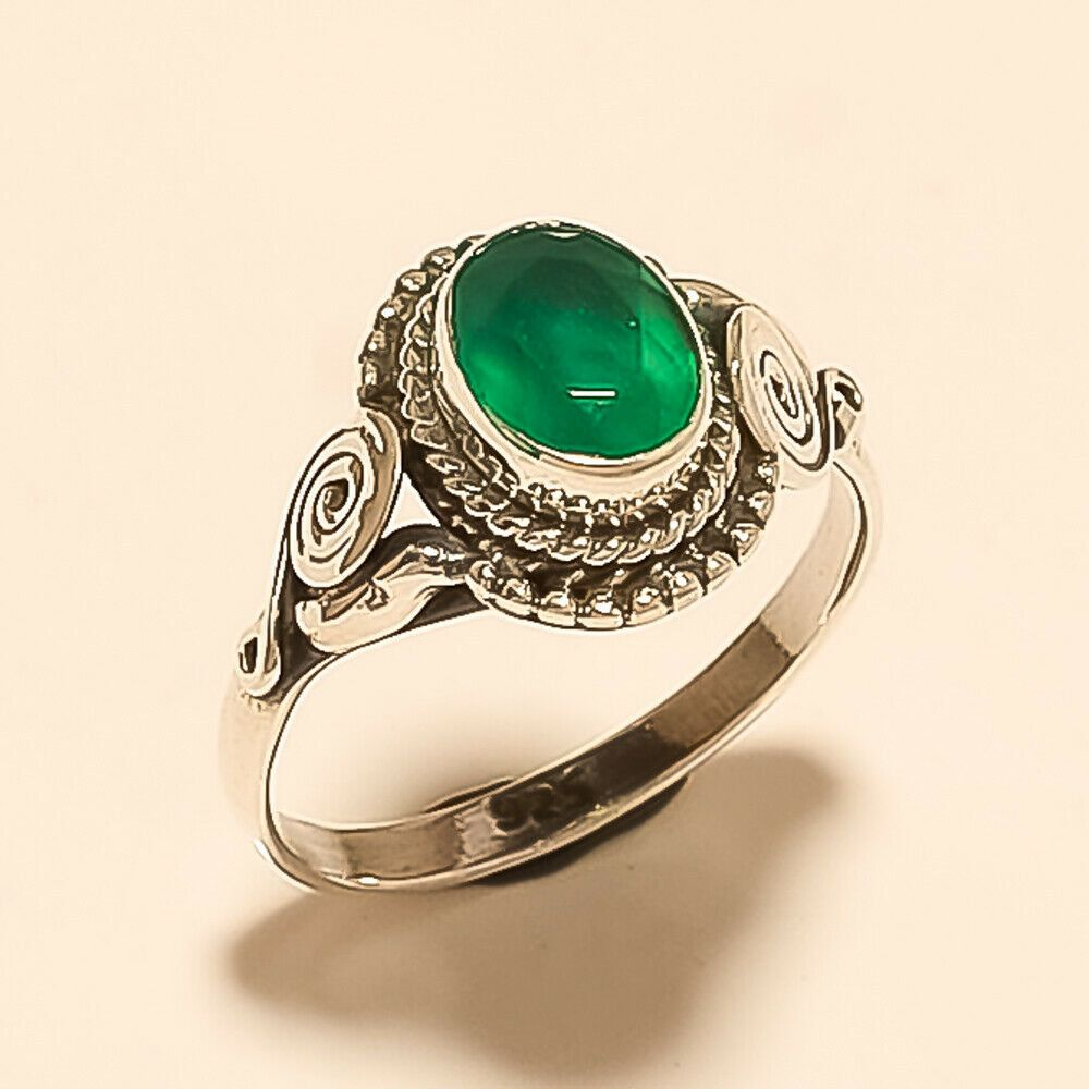 Natural Zambian Emerald 925 Sterling Silver Solitaire Statement Ring