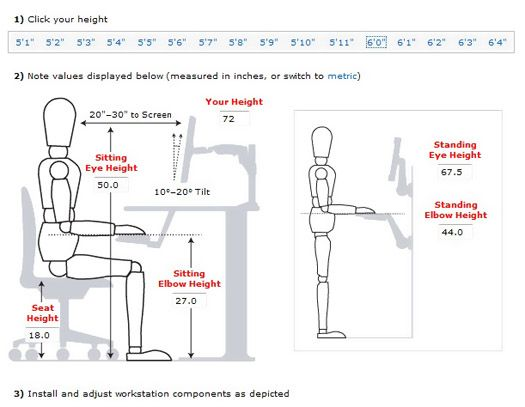 Ergonomics Chart For Sitting And Standing Sewing Room Design
