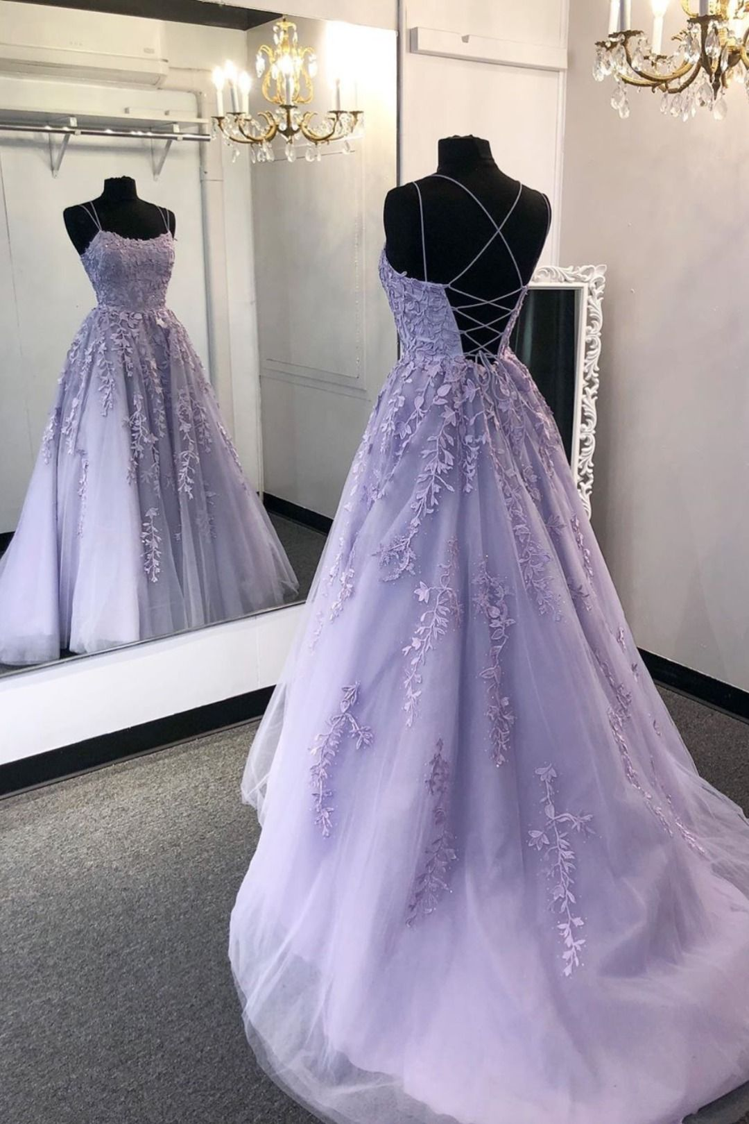 Princess Beaded Long Prom Dresses with Lace Appliques