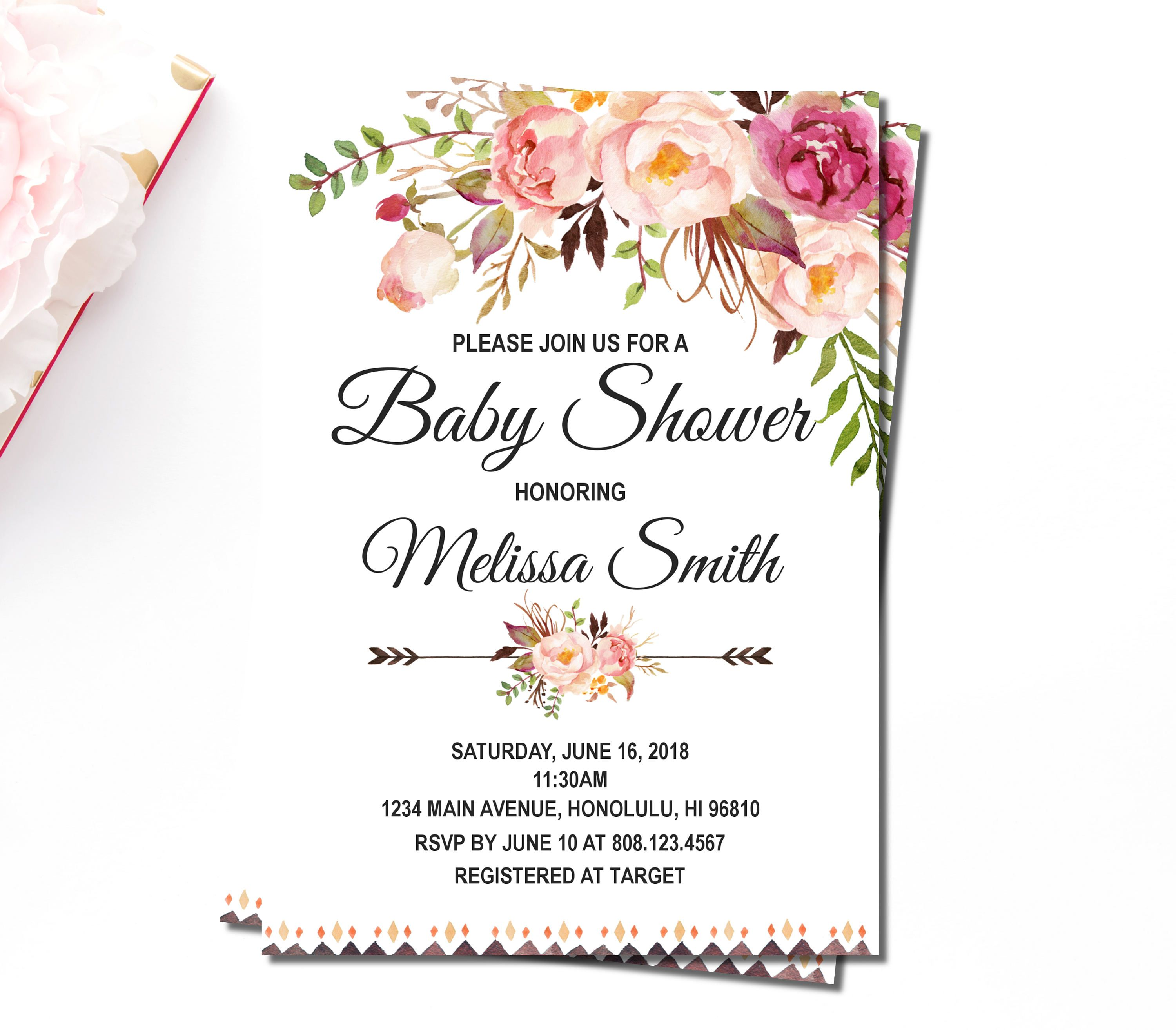 Floral Boho Baby Shower Invitation, Tribal Girl Baby Shower Invitations,