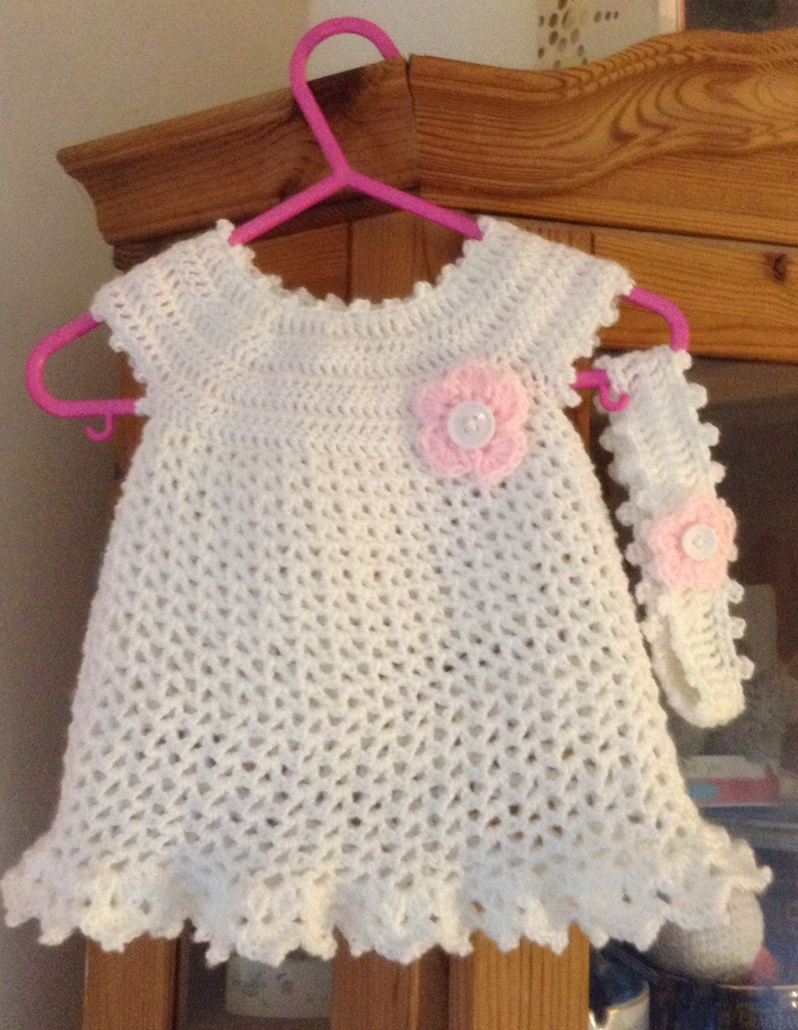 Baby girls little Sweetie crochet dress and matching