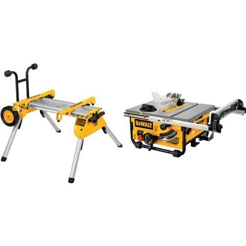 Dewalt Dw7440rs Rolling Saw Stand With Dw745 10 Inch Compact Job Site Table Saw With 20 Inch Max Rip Capacity 120v Ta In 2020 Saw Stand Table Saw Best Table Saw