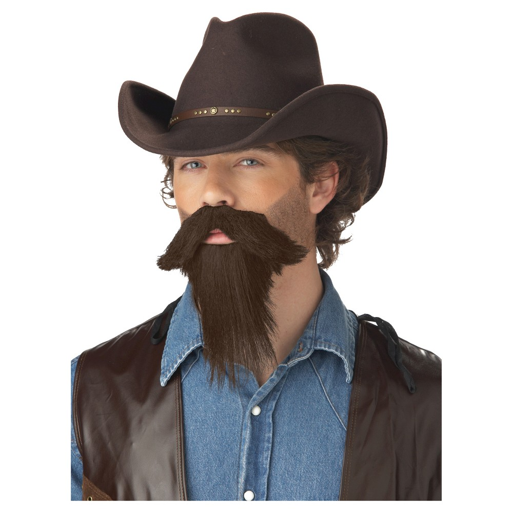 the rustler full goatee costume wig brown | products