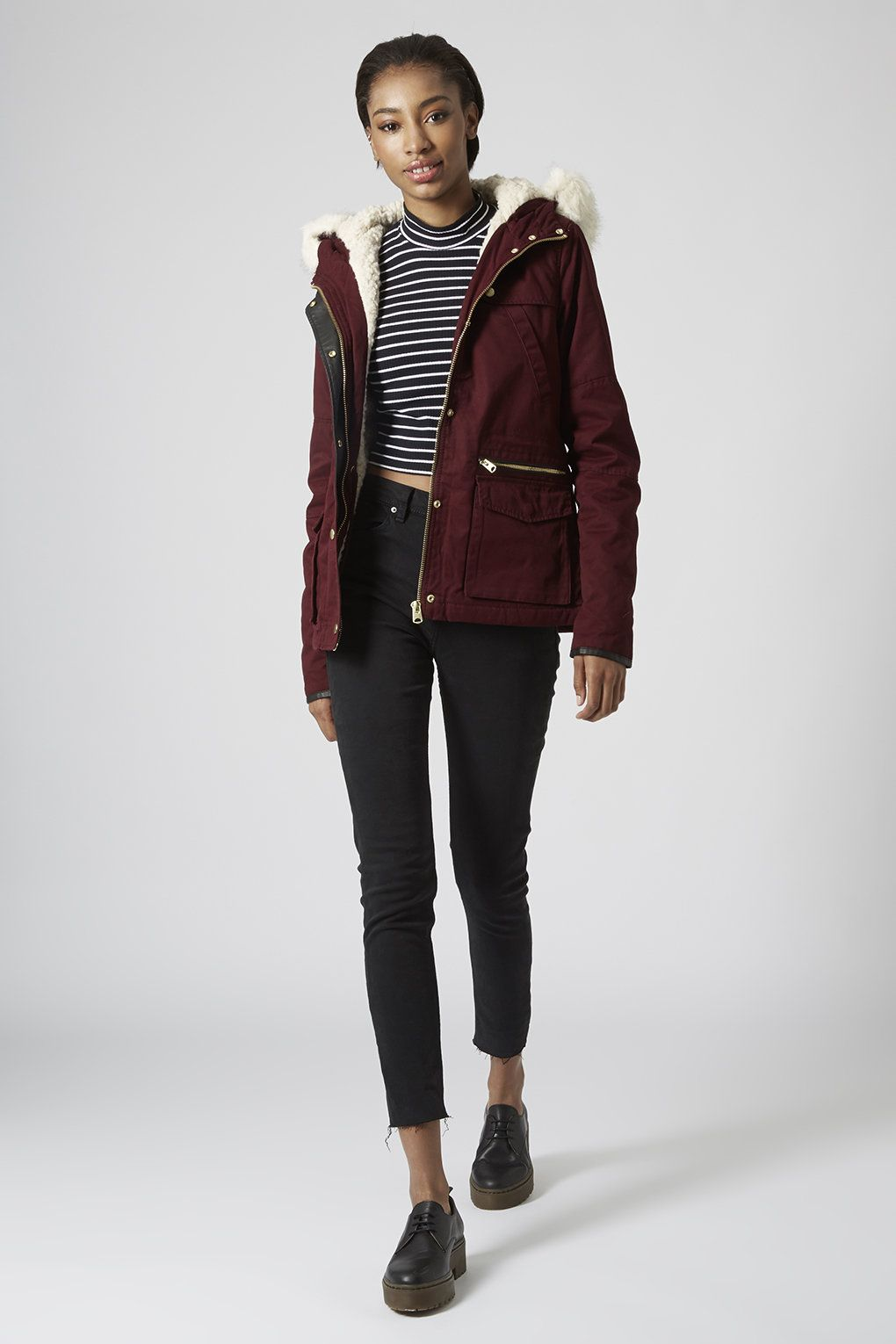 Topshop borg lined short padded parka jacket fashion pinterest