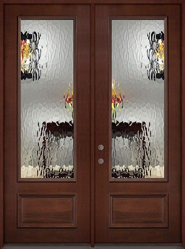 "Contemporary 8 0"" Tall Privacy Glass 3 4 Lite Pre finished Mahogany Wood Double Door Unit Picture - Inspirational outside door with window Modern"