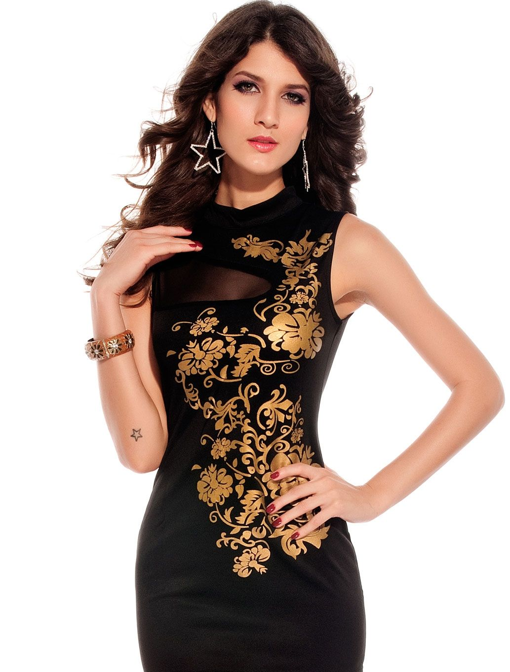 Short black with golden design work evening cocktail party club ...