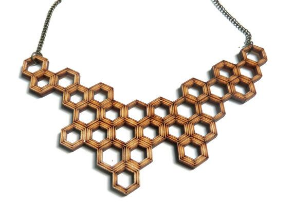 necklace HONEYCOMB lasercut from birch wood by CreativeUseofTech. Etsy