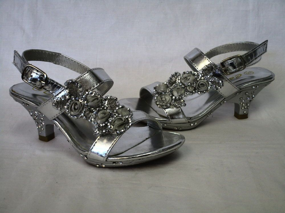 Carrie girls silver open toe flower sequin design ankle strap heel dress shoes #Carrie #DressShoes