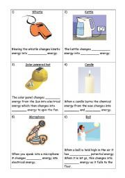 Types of Energy Printable Worksheets | Energy Transfers | 6th ...