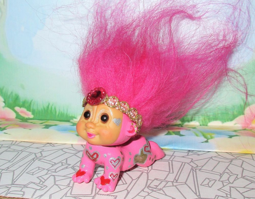 1 5 in crawling baby valentine troll ooak doll custom painted upface
