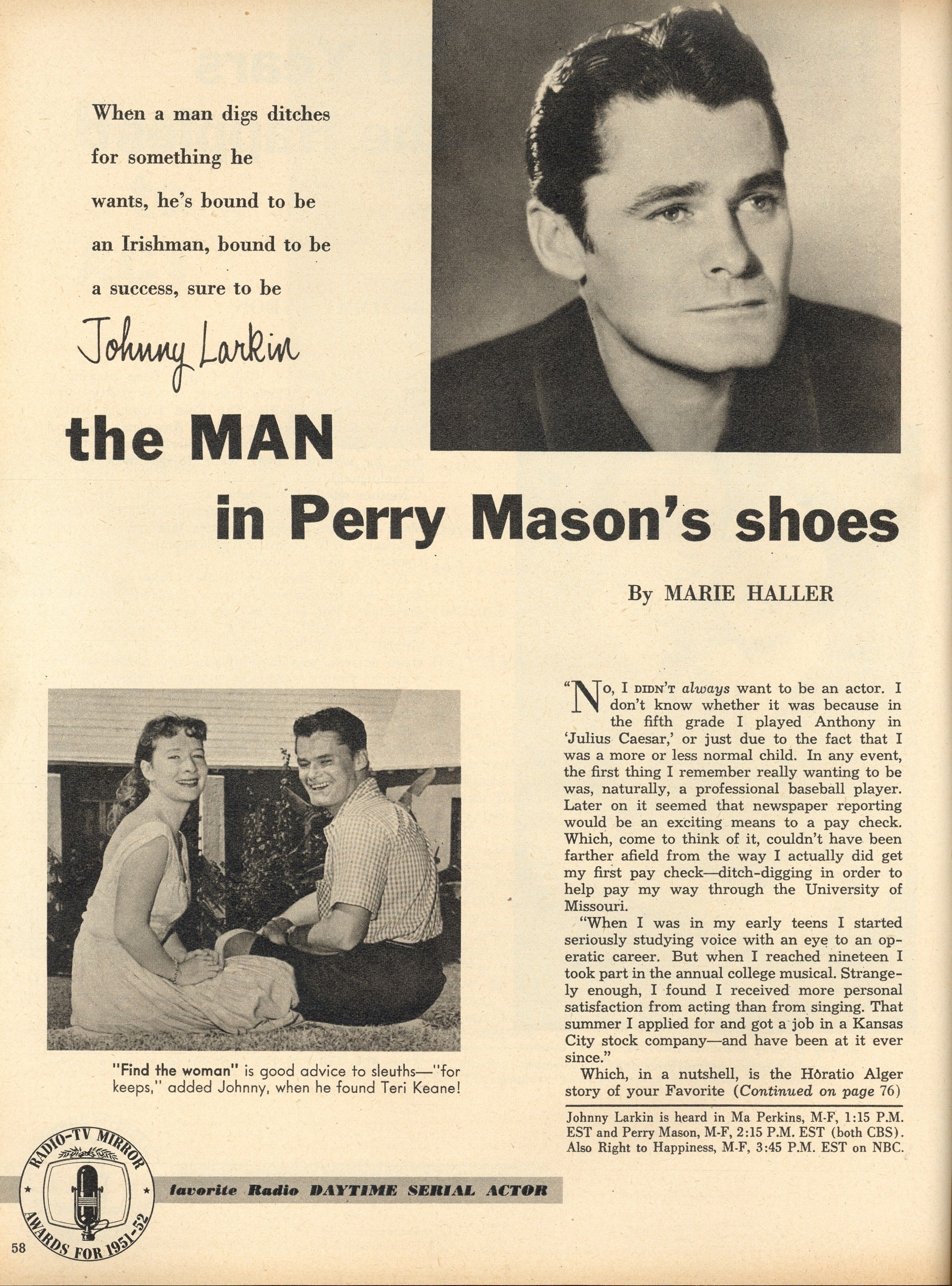 Perry Mason Radio Show John Larkin From Radio Tv Mirror May 1954 From The Jim Davidson Collection Perry Mason Classic Tv Soap Opera Stars