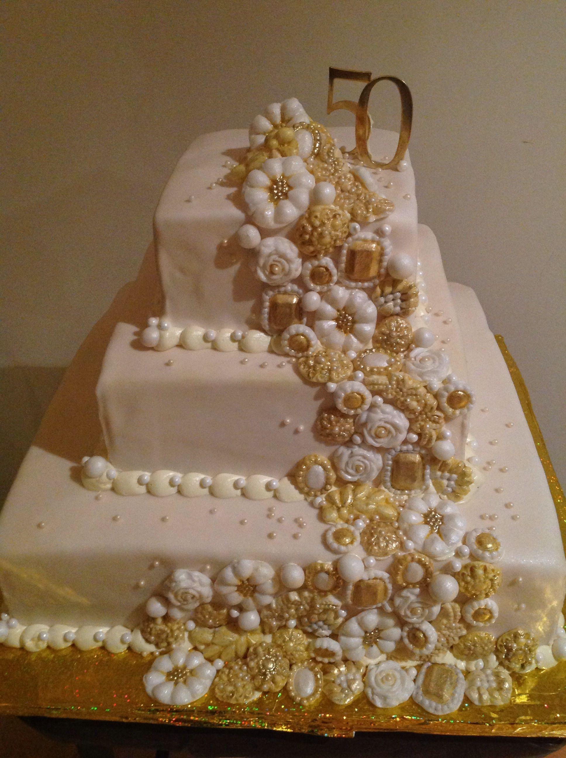 g teau de 50e anniversaire de mariage bijoux faits mains noce d 39 or en 2019 cake et cupcakes. Black Bedroom Furniture Sets. Home Design Ideas