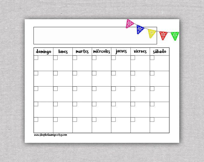 Spanish Printable Calendar Template - Calendario Mensual - Monthly - steps for creating a grant calendar