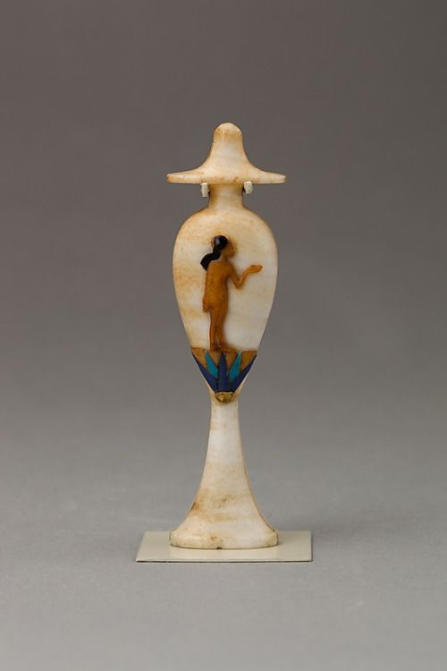 Alabaster perfume vase Made from alabaster and inlaid with gold, glass, carnelian and obsidian. The figure is an Amarna princess, one of the daughters of Akhenaten. Egyptian, New Kingdom, 18th dynasty, Amarna Period, 1353-1336 BC. Source: Metropolitan Museum