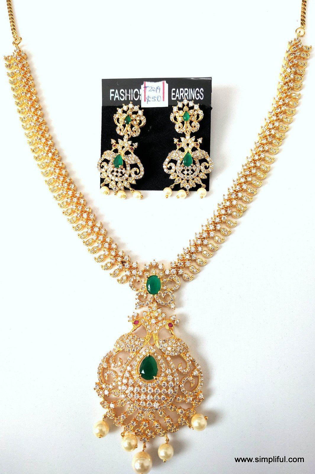 One gram gold peacock necklace n earring set products