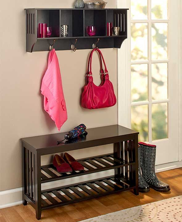 Entryway Hall Bench Shelf Storage Unit Foyer Mudroom Organize Rack ...