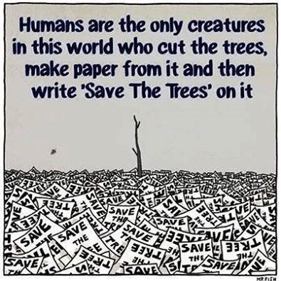 Humans Are The Only Creatures In This World Who Cut The Trees Make