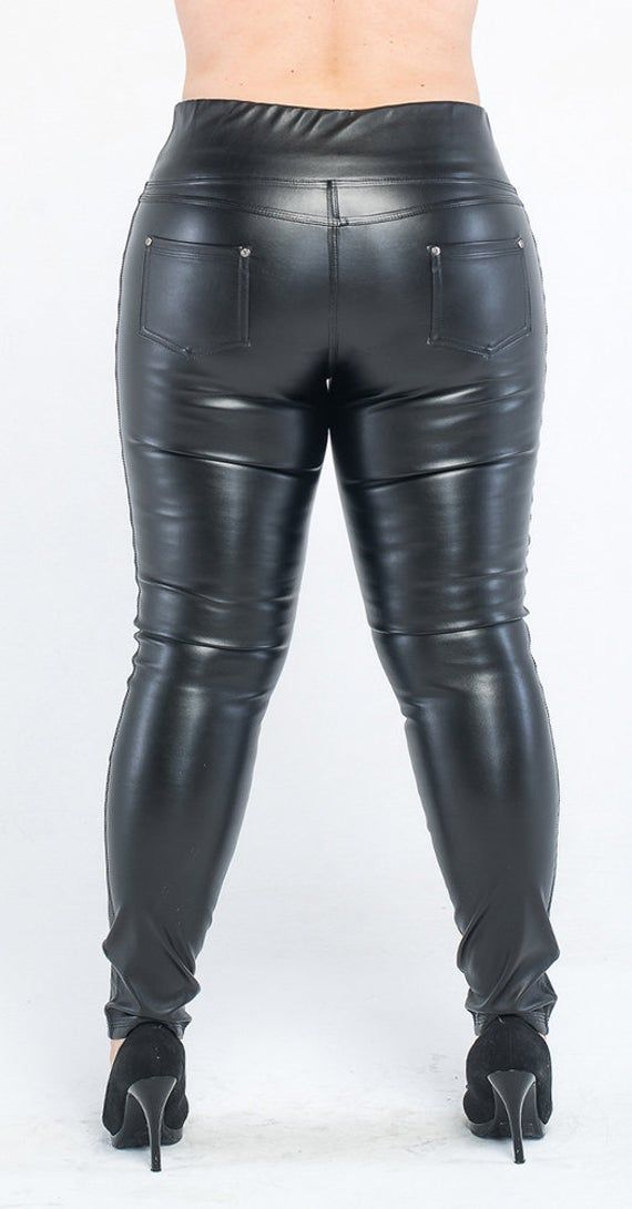 Faux Leather Plus Size Tights, Leather Leggings tightening black, leather leggings tie up, Plus Size Yoga Pants, Workout Tights 2